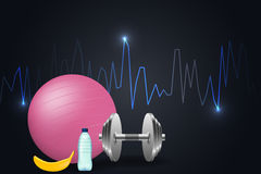 Fitness background with dumbbells and  fitness-ball. Royalty Free Stock Photo