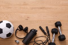 Fitness background, sport equipment, copy space. Fitness background, male sport equipment for training and outfit, copy space. Weightloss, healthy lifestyle Royalty Free Stock Images