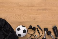 Fitness background, sport equipment, copy space. Fitness background, male sport equipment for training and outfit, copy space. Weightloss, healthy lifestyle Royalty Free Stock Photography