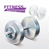 Fitness background with metal realistic dumbbell Royalty Free Stock Image