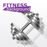 Fitness background with metal realistic dumbbell Stock Image