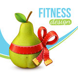 Fitness background with pear. Royalty Free Stock Image