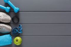Fitness background, sport equipment, copy space stock images