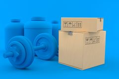 Fitness background with stack of boxes royalty free illustration