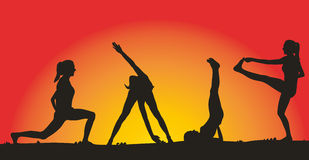 Fitness on the background of sunset Royalty Free Stock Photo