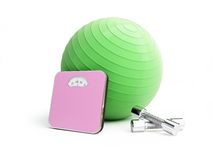 Fitness ball bathroom scale, weights Royalty Free Stock Images