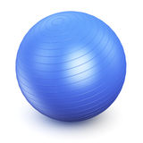 Fitness ball. Blue fitness ball isolated on white background Royalty Free Stock Photography