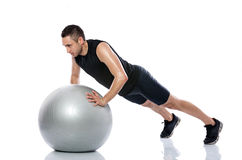 Fitness, ball, exercise Stock Photo