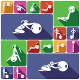 Fitness ball icons set flat Royalty Free Stock Images