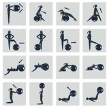 Fitness Ball Icons Set Royalty Free Stock Image