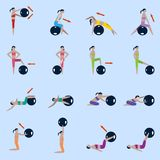 Fitness ball icons set Stock Image
