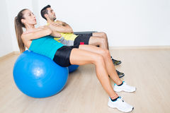 Fitness ball training Stock Image