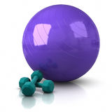 Fitness Ball and Weights Stock Images
