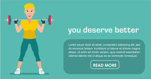Fitness banner. Flat style. Pretty girl with a barbell Royalty Free Stock Photography