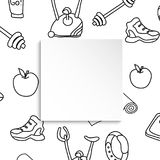 Fitness banner with hand drawn gym pattern and 3d paper plate. D. Oodle icons for healthy workout and exercise. Sport lifestyle line art. Stylish fitness banner Royalty Free Stock Photo