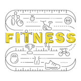 Fitness banner in modern thin line Royalty Free Stock Photography