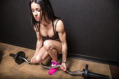 Fitness with barbell Royalty Free Stock Photos