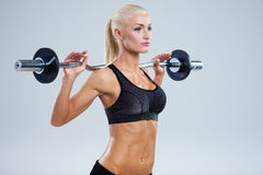 Fitness with barbell Royalty Free Stock Images
