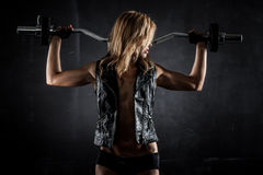 Fitness with barbell Royalty Free Stock Photography