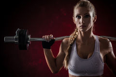 Fitness with barbell Stock Image