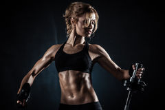 Fitness with barbell Stock Photo