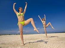 Fitness on a beach stock photo