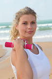 Fitness by the beach Royalty Free Stock Photo