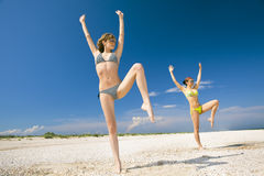 Fitness on a beach royalty free stock images