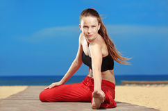 Fitness the beach Royalty Free Stock Photo