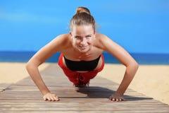 Fitness the beach Royalty Free Stock Photo