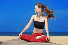 Fitness the beach Royalty Free Stock Photography