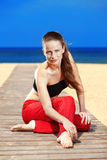 Fitness the beach Royalty Free Stock Image