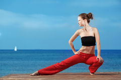 Fitness the beach Royalty Free Stock Photos