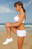 Fitness on beach Stock Photo