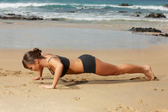 Fitness on beach royalty free stock photos