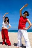 Fitness on the beach royalty free stock photos