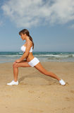 Fitness on beach Stock Image