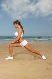 Fitness on beach Stock Image
