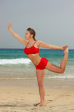 Fitness on beach Stock Photos