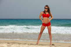 Fitness on beach Royalty Free Stock Image