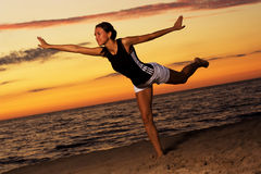 Fitness on the beach. Royalty Free Stock Photos