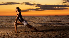 Fitness on the beach. Royalty Free Stock Images