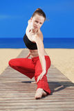 Fitness the beach Stock Photography