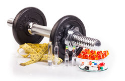 Fitness black dumb-bell on white Royalty Free Stock Photo