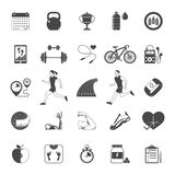 Fitness black icons set Stock Photos