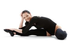 Fitness black leotard Stock Photography
