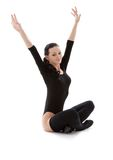Fitness in black leotard Stock Photo