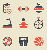 Fitness black and red icon set. Vector illustration of fitness black and red on light background Stock Photos