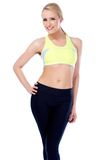 Fitness blond girl smiling Royalty Free Stock Images