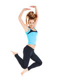 Fitness blond happy woman jumping Stock Photo